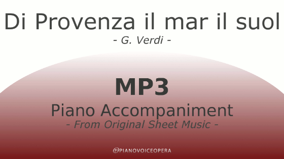 Di Provenza il mar il suol Piano Accompaniment