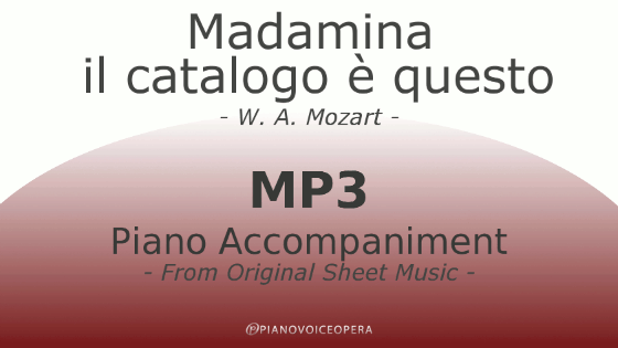 Madamina il catalogo è questo piano accompaniment