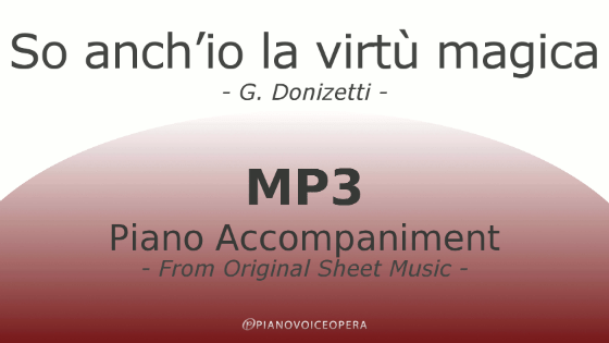 PianoVoiceOpera So anch'io la virtù magica Piano Accompaniment