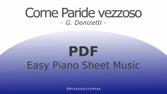 Come paride vezzoso Easy Piano Sheet Music