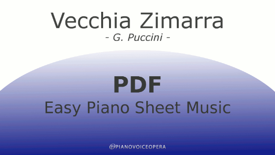 Vecchia Zimarra Easy Piano Sheet Music
