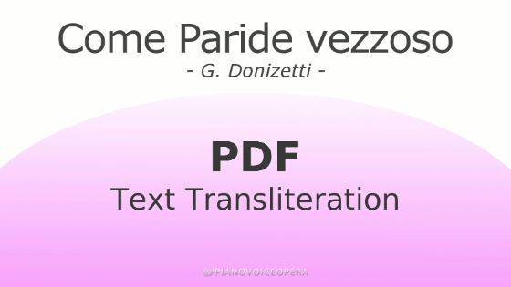Come paride vezzoso Text Transliteration