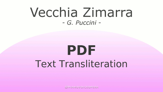 Vecchia Zimarra Text Transliteration