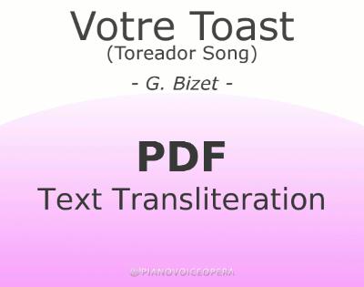 Votre Toast (Toreador Song) Text Transliteration