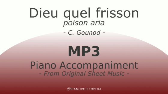 Dieu quel frisson (poison aria) Piano Accompaniment