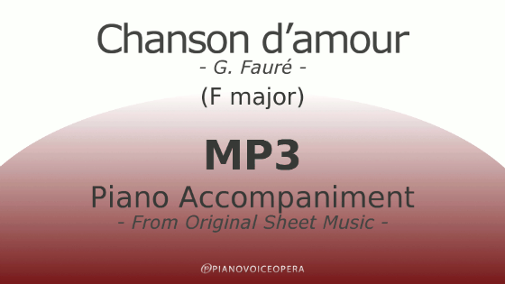 PianoVoiceOpera Chanson d'amour Piano Accompaniment (medium voice)