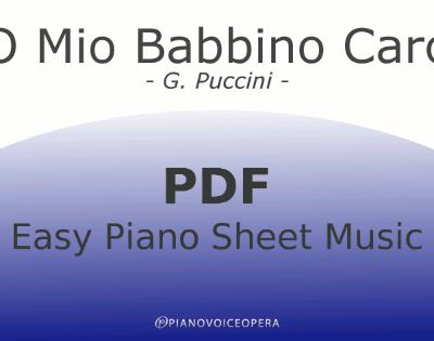 O Mio Babbino Caro Easy Piano Sheet Music