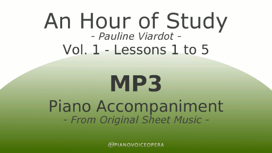 PianoVoiceOpera An Hour of Study Viardot vol. 1 lesson 1 to 5 Package