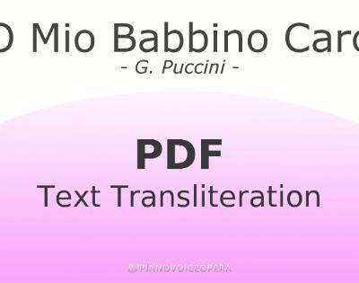 O Mio Babbino Caro Text Transliteration