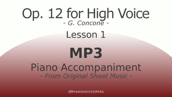 Concone Op 12 High Voice Piano Accompaniment Lesson 1