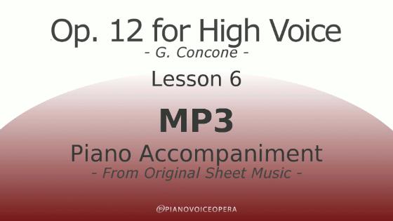 Concone Op 12 High Voice Piano Accompaniment Lesson 6