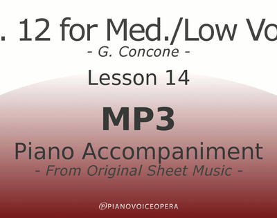 Concone Op 12 Piano Accompaniment Low Voice Lesson 14