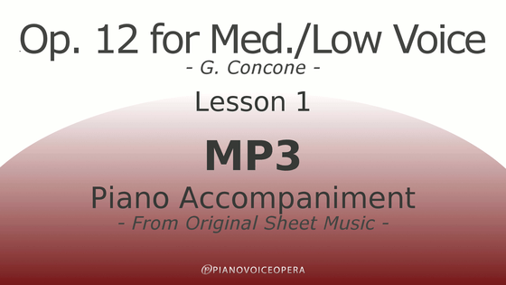 Concone Op 12 Piano Accompaniment for Medium and Low Voice