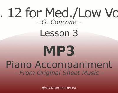 Concone Op 12 Piano Accompaniment Low Voice Lesson 3
