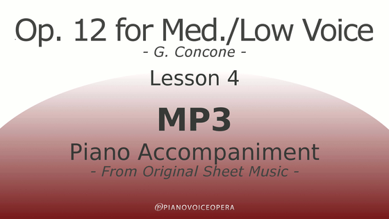 Concone Op 12 Piano Accompaniment Low Voice Lesson 4