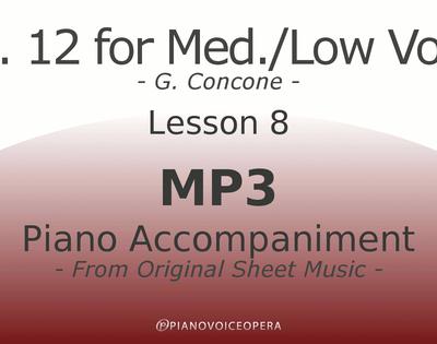 Concone Op 12 Piano Accompaniment Low Voice Lesson 8