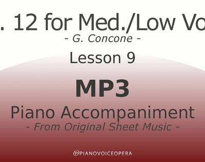 Concone Op 12 Piano Accompaniment Low Voice Lesson 9