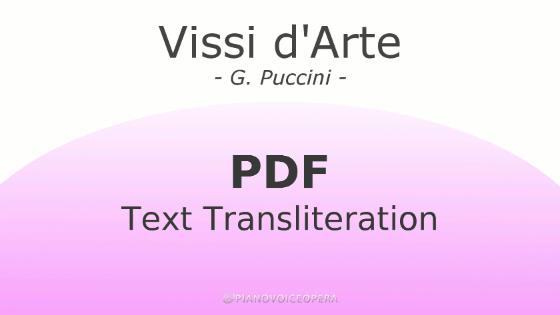 Vissi d'Arte Text Transliteration