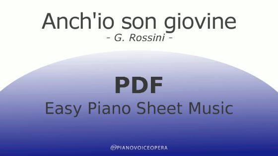 Anch'io son giovine Easy Piano Sheet Music
