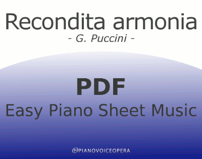 Recondita Armonia Easy Piano Sheet Music