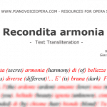 Recondita Armonia Text Transliteration