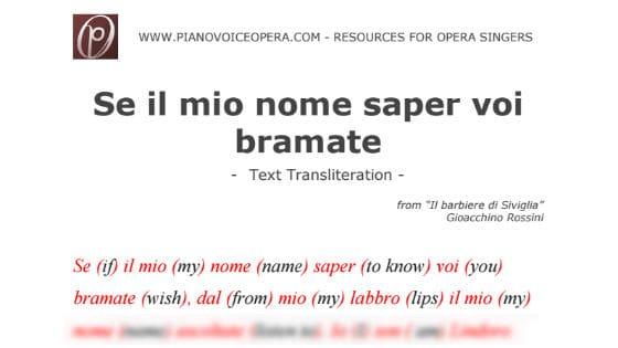 Se il mio nome saper voi bramate Text Transliteration