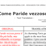 Come paride vezzoso Text Translation