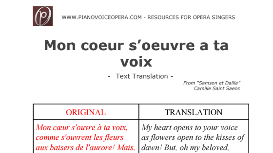 Mon coeur s'oeuvre a ta voix Text Translation