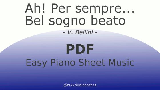 Ah! per sempre - Bel sogno beato easy piano accompaniment sheet music score