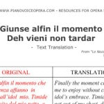 Deh vieni non tardar Text Translation pre