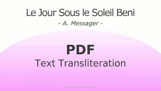Le jour sous le soleil beni text transliteration