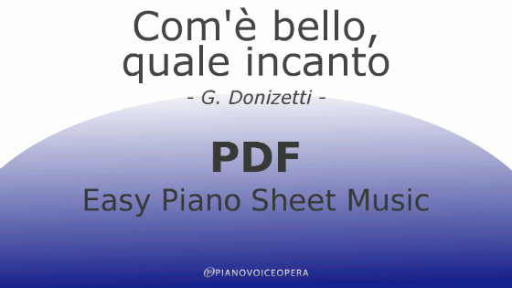 Com'è bello easy piano accompaniment sheet music score