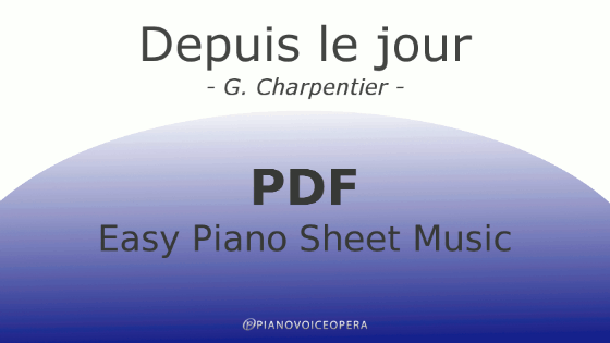 Depuis le jour easy piano accompaniment sheet music score