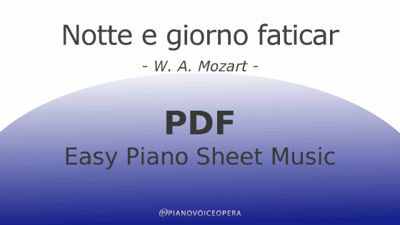 Notte e Giorno Faticar easy piano accompaniment sheet music score