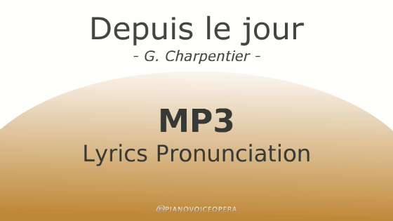Depuis le jour lyrics pronunciation